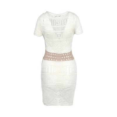 button point see-through knit dress